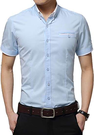 Outwears 2020 hombres de verano camisa de negocios de manga ...