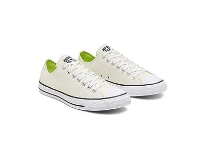 Converse Chuck Taylor All Star Slub Canvas Ox (White/Lemongrass/Black) Shoes
