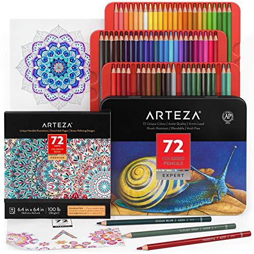 Arteza Mandalas für Erwachsene mit Stiften Set, 72 Buntstifte auf Weichwachsbasis und Mandala Malbuch mit 72 einzigartigen Designs für Entspannung und Stressabbau