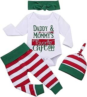 2-Pieces Infant Baby Boys Girls Cotton Christmas Santa Letter Romper Bodysuit+Striped Leg Warmers Outfits Sets Clothes (0Month- 12Months)