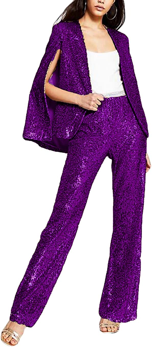 Xixi House Women's 2021 Mother of The Bride Outfits Dress with Jacket Sequins Wedding Guest Pant Suits