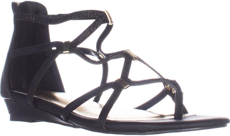 Thalia Ts35 Pamella Flat Gladiator Sandals - Black Metallic