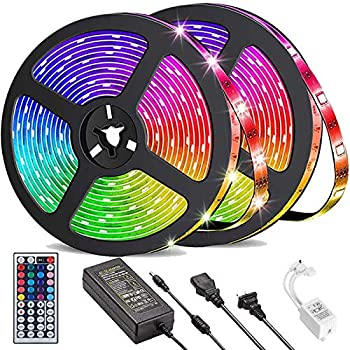 Daufri LED Strip Lights 32.8ft Waterproof 5050 RGB Color Changing LED Lights for Bedroom Kitchen Party Home Decoration with 44 Keys IR Remote Controller and 12V Power Supply