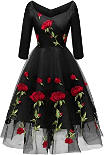 Women Valentine's Day Dresses Vintage 1950s Embroidered Flower Rose Cocktail Party Swing Gatsby Evening Gown