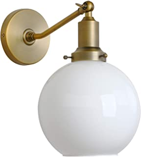 "Permo Industrial Vintage Slope Pole Wall Mount Single Sconce with 7.9"" Globe Round Milk White Glass Shade Wall Sconce Light Lamp Fixture (Antique)"