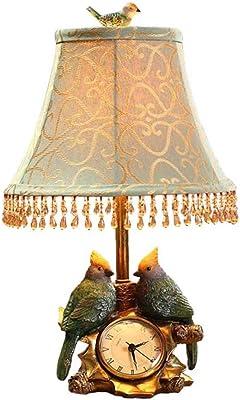 Lampe de table Linen Shade chambre lampe de chevet oiseau horloge jardin moderne minimaliste lampe de chevet en tissu