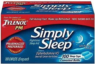 Tylenol PM Simply Sleep Nighttime Sleep Aid (25 mg), 100-Count Caplets (Pack of 3)
