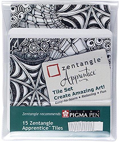 15 Original Zentangle Apprentice Tiles, 15 quadratische weiße Kacheln