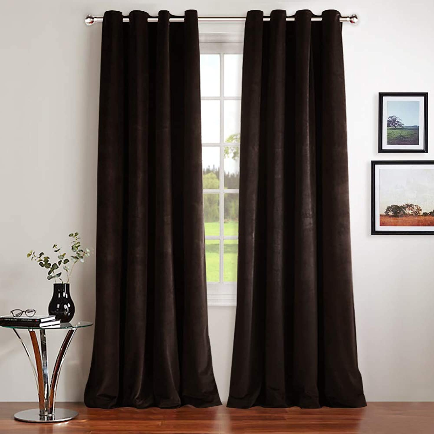 NICETOWN Velvet Textured Blackout Curtains Drapes - Blackout Curtains with Grommet for Holiday Season Home Decoration (Set of 2, W52xL96-inch, Dark Brwon)