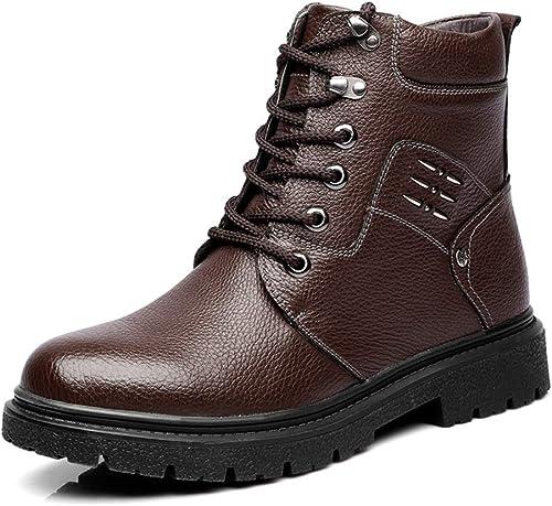 XHD-Chaussures 2018 Nouveaux Bottes Mode Hommes Loisirs Classiques Confort Grand Haut Extérieur Semelle extérieure en Caoutchouc Bottes Martin (Couleur   Warm marron, Taille   38 EU)