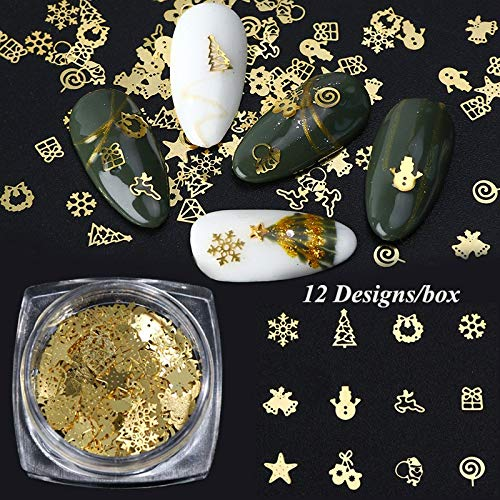 YUYOUG 3D Manucure de Noel Conseils de Décoration de Noël Ongles Flocon de Neige Paillettes Nail Art Paillettes Tranches d'or en Métal Or Jaune Patch Ultra-Mince