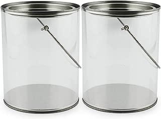"""Quart Size Clear Plastic Paint Cans (2-Pack); Decorative Faux """"Paint Pails"""" w/Handle & Bale for Crafts, Decorating, Baby Shower/Wedding Shower Decor"""