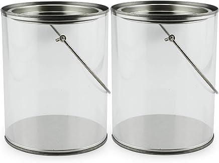 """Quart Size Clear Plastic Paint Cans (2-Pack); Decorative """"Paint Pails"""" w/Handle & Bale for Crafts, Decorating, Baby Shower/Wedding Shower Decor"""