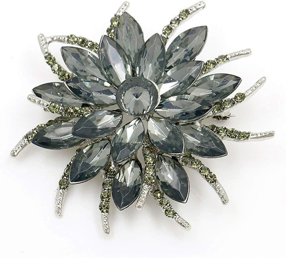 Flower Brooch Pin for Women Brides Created Crystal Brooch (Grey)