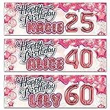 Cartel personalizado para cumpleaños al aire libre, diseño de globo de oro rosa, decoración de fiesta – 18, 21, 30, 40, 50, 60, 70 y 80 cumpleaños