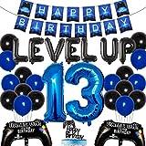 Videojuego Decoraciones de cumpleaños número 13 para niños Juego en suministros de fiesta de cumpleaños Juego azul Banner de feliz cumpleaños Controlador de juego Globo