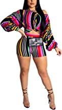 Women Two Piece Outfits - Sexy Outfits Clubwear Crop Tops + High Waisted Shorts