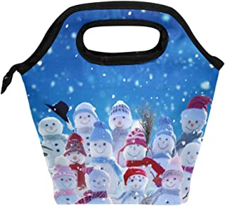 Mydaily Lunch Box Cute Snowmen Winter Reusable Insulated School Lunch Bag for Women Kids