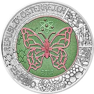 2017 AT Niobium PowerCoin MICROCOSM Mikrokosmos Butterfly Bimetallic Silver Coin 25€ Euro Austria 2017 BU Brilliant Uncirculated