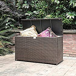 Patiorama Outdoor Wicker Storage Box Patio Aluminum Frame Espresso Brown Wicker Cushion Storage Bin Deck Box, 130 Gallon