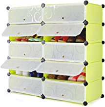 Styleys Plastic Shoes Rack with Cover (10 Cube, Green)