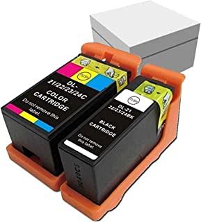 Compatible Ink Cartridge Replacement for Dell Printer V313 V313W V515W P513W P713W V715W 21 22 23 24 (1Black+1Color)