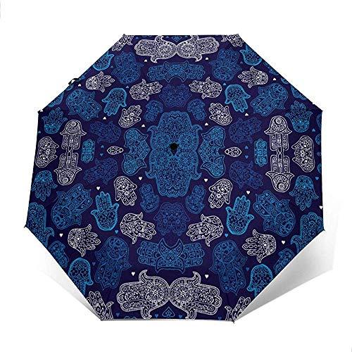 Hamsa Hand des marokkanischen ic Ornament Pattern Travel Umbrella Sonnenschirm-Windproof Sunscreen-Auto Öffnen und Schließen Button