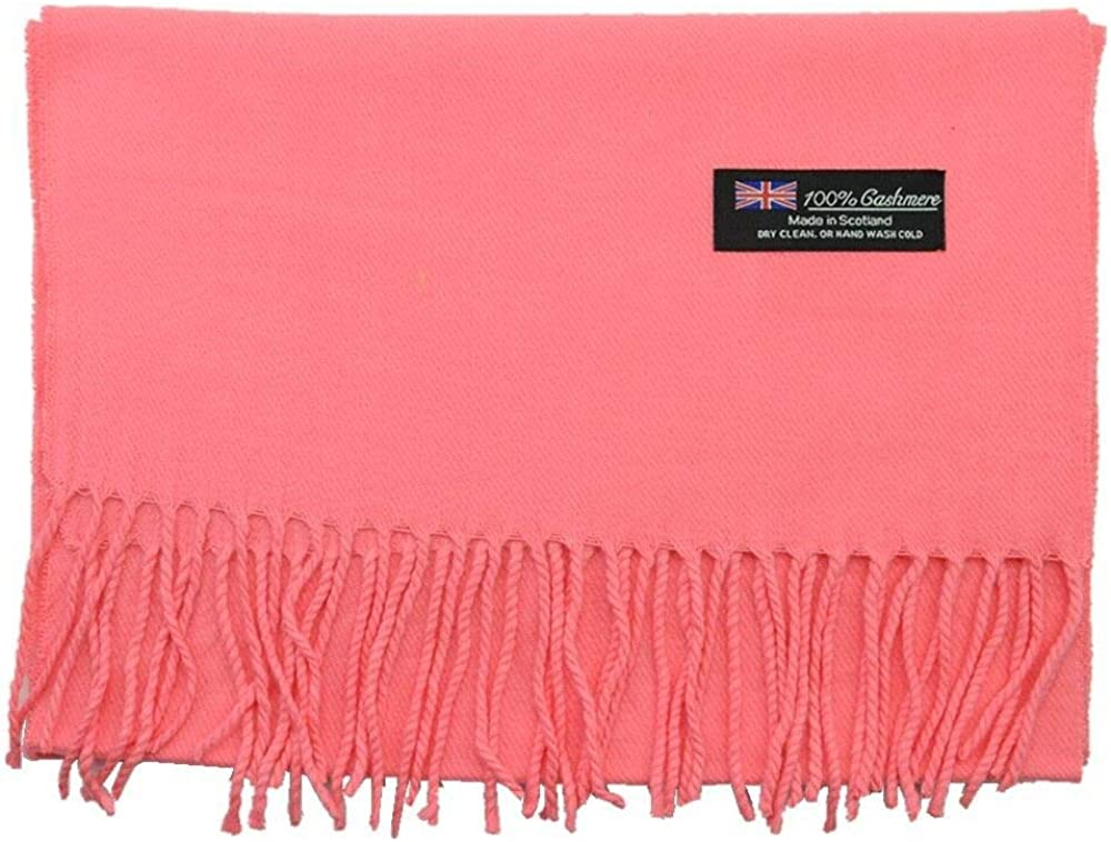 Men Women Unisex Warm Plain Scarf Pure Solid Coral Wool Scotland 100% Cashmere