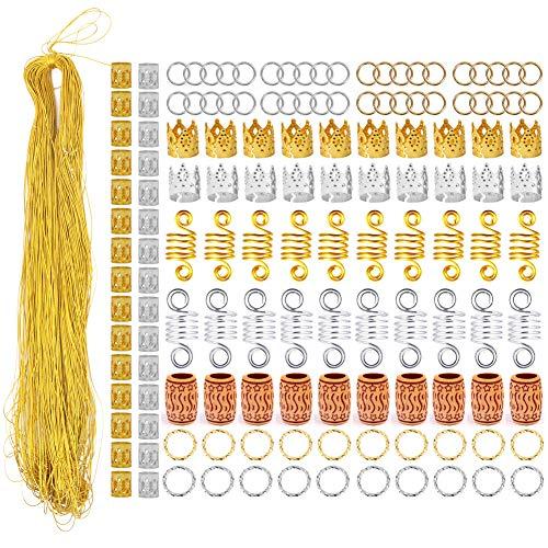 Haarschmuck-Ringe aus Aluminium, Haarschmuck mit 100 m Metallschnur, Haarwickler, Dreadlocks, Zöpfe, Ringe, Manschetten, Flechten, Perlen, Zubehör 140 Stück