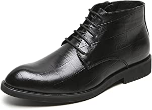 Xujw-shoes store, 2019 Mens New Lace-up Flats Business Ankle Boot for Men High Top Oxfords Lace up Microfiber Leather Grid Embossed Pointed Toe Durable Comfortable Block Heel Side Zipper Vegan Black