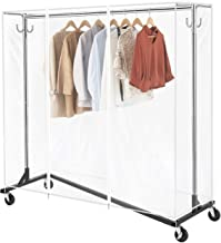 Greenstell Z-Base Garment Rack with Cover, Clothes Rack on Wheels with Brakes,Heavy Duty Durable Square Tubing Z Garment R...