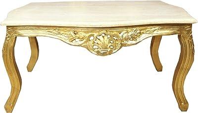 Casa Padrino Barock Couchtisch Gold mit Marmorplatte Creme
