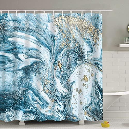 J-MOOSE Duschvorhang Marmormuster Schimmelresistenter & Wasserabweisend Shower Curtain mit 12 Duschvorhangringen