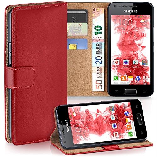 MoEx Premium Book-Case Handytasche kompatibel mit Samsung Galaxy S2 / S2 Plus | Handyhülle mit Kartenfach und Ständer - 360 Grad Schutz Handy Tasche, Rot