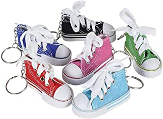 Kicko 3 Inch Sneaker Keychain - 12 Pack Mini Backpack Hook for Travelers - Keyring for Bag and Belt Loop Accessory, Back to School Item, Arts and Crafts, Fashion Tool, Party Favors