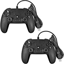 Battool Wired USB Switch Controller for Switch Pro PC PS3 Android Game Controllers with Motor Vibration and Turbo Function (Dark Gray 2 Pack)