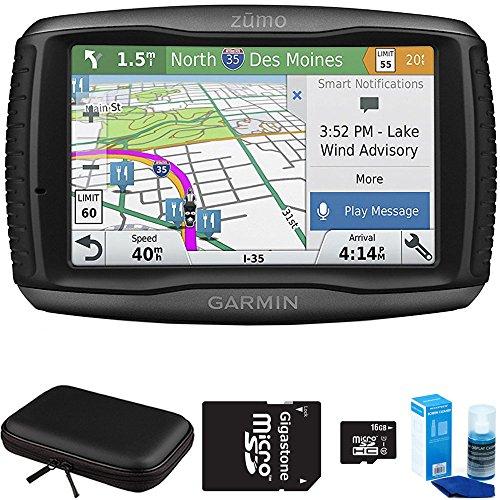 Garmin Zumo 595LM Motorcycle GPS Navigator Bundle includes GPS, PocketPro XL Hardshell Case, MicroSD HC 16GB C10 U1 With SD Adapter and Screen Cleaner