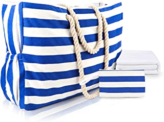 MESOCO Plain Beach Bag Waterproof - Dark Blue Stripes Shoulder Tote Canvas Bag Cotton Rope Handles, Built-in Key Holder, Beach Towel, Change Wallet Pocket, Bottle Opener