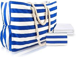 Bolsa de fin de semana,OURBAG Bolso Crossbody de viaje de lona a rayas Unisex Sports Gym Duffle Holdall con mango de cuero Azul
