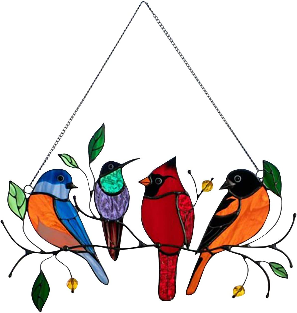 Multiple Branded goods Birds on a Wire High Stained Ha Max 67% OFF Glass Suncatcher Window