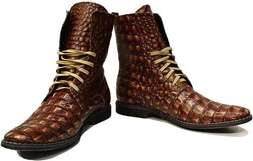 Modello Serafino - Cuero Italiaño Hecho A Maño Hombre Piel Color marrón botas Altas - Cuero Cuero Repujaño - Encaje