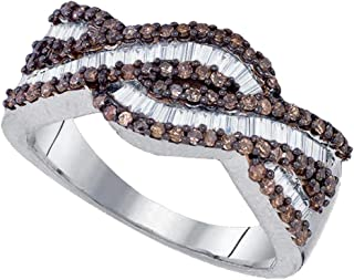 Sonia Jewels 925 Sterling Silver Invisible & Channel Set Round and Baguette Cut Chocolate Brown and White Diamond Ladies Womens Wedding Band OR Anniversary Ring (3/4 cttw.)