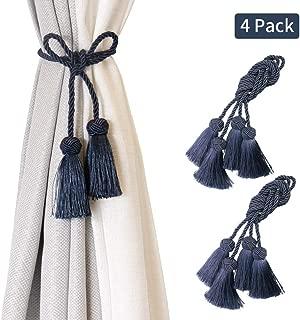 BEL AVENIR 4 Pack Curtain Tiebacks Handmade Decorative Curtain Holdbacks Rope with Tassel- Navy