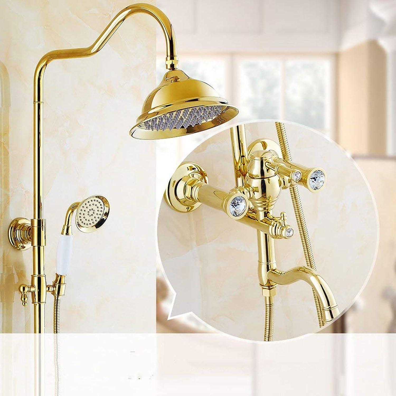 FFWFW European style golden shower Shower set Bathroom hot and cold copper faucet shower Device (Design   B)