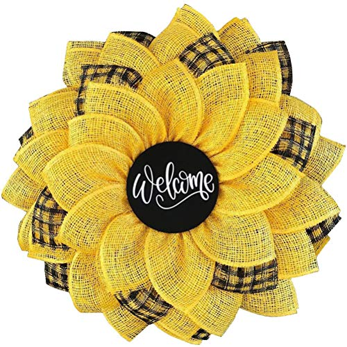 1 Piece Spring Wreath Sunflower-shaped Wreath Lightweight Front Door Wreath Sunflower Garland with Welcome Sign Artificial Garland Hanging Ornaments Perfect for Front Door, Home Outdoor Decoration