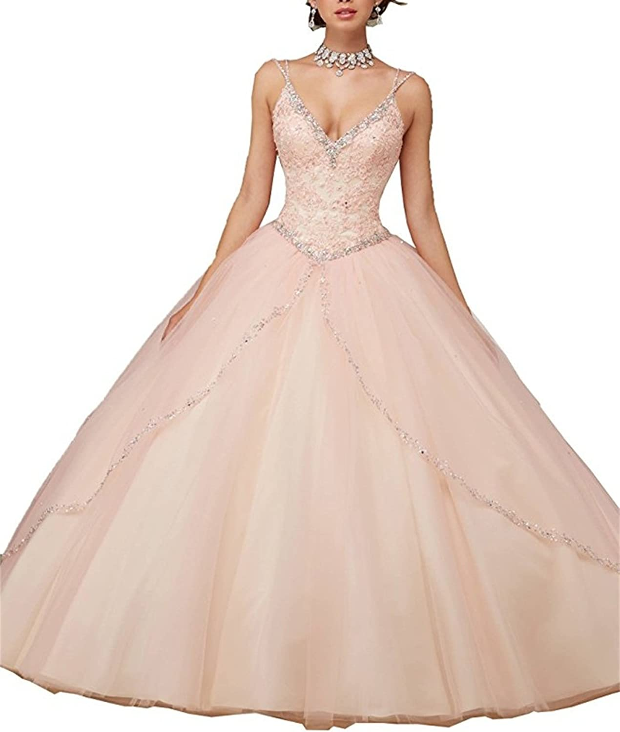 XYHDTQ Women's Sweetheart Prom Long Dresses Quinceanera Gown Beaded Sequins
