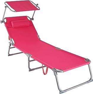 comprar comparacion TecTake 800772 Tumbona de Playa con Parasol, Respaldo Ajustable 4 Posiciones, Reposacabezas Extraíble, Exterior Piscina Te...