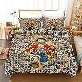 Yomoco - Juego de ropa de cama de One Piece, funda de edredón y funda de almohada, microfibra, impresión digital 3D, juego de cama de tres piezas, 10, Single 135x200cm