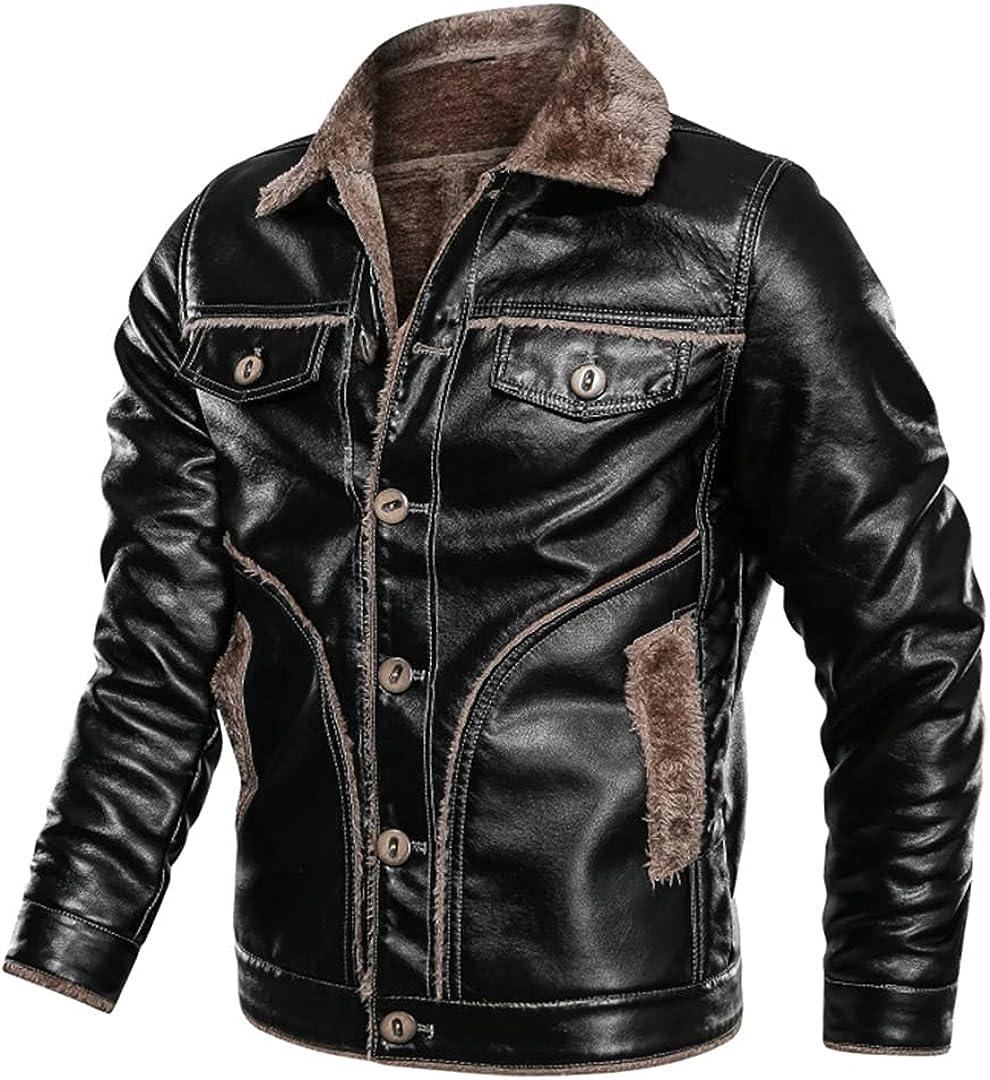 2021 Men Autumn Winter Thick Warm Fleece Motor Leather Jacket Coat Casual Bomber Zipper Leather Jackets