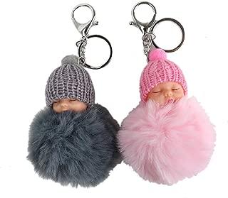 WSSROGY 2 Pack Cute Sleeping Baby Doll Pompom Key Ring Key Chain Bag Pendant